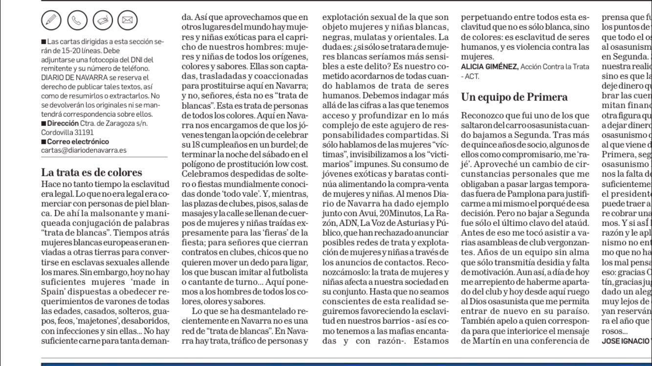 Diario de Navarra. Cartas a Dirección. 21 de junio de 2016